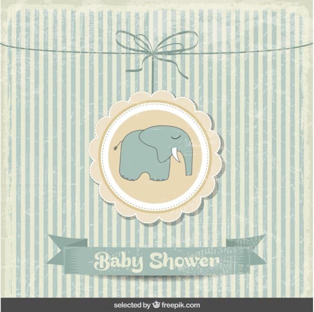 Tarjeta vintage de la bienvenida del bebé con elefante vector gratuito