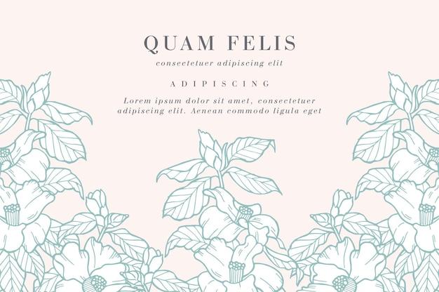 Tarjeta vintage con flores de camelia. guirnalda floral. marco de flores para florería con diseños de etiquetas. Vector Premium
