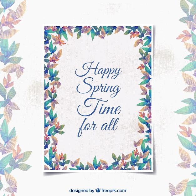 Tarjeta vintage de hojas de colores con mensaje de primavera ...