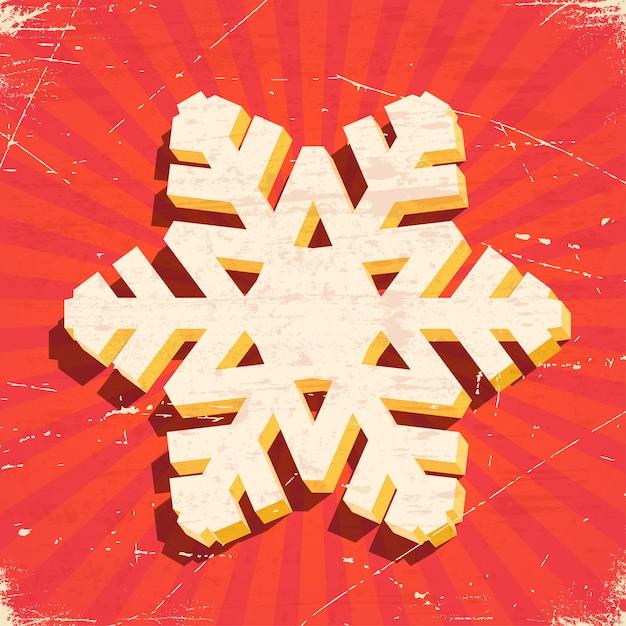 Tarjeta vintage rayada con copo de nieve de navidad 3d Vector Premium