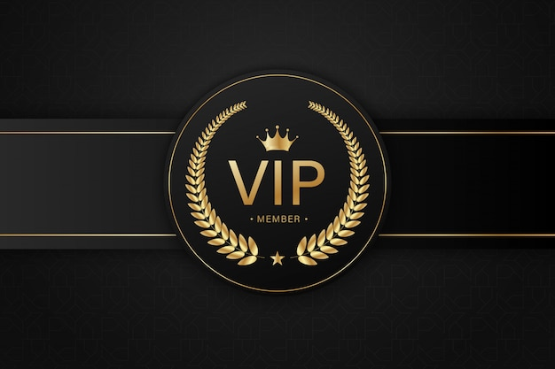 Tarjeta vip negra insignia dorada Vector Premium