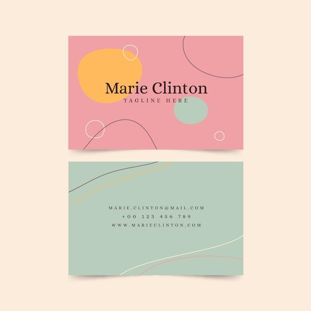 Tarjeta de visita abstracta con colección de plantillas de manchas de color pastel vector gratuito