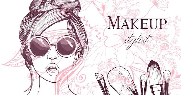 Tarjeta de visita del artista de maquillaje. Vector Premium