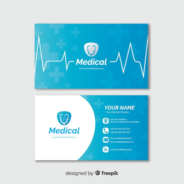 Tarjeta de visita con concepto médico en estilo profesional Vector Premium