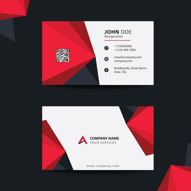 Tarjeta de visita corporativa corporativa de diseño plano limpio negro y rojo premium Vector Premium