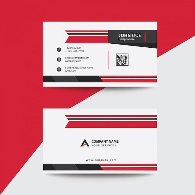 Tarjeta de visita corporativa limpia plana plana roja y negra premium business Vector Premium