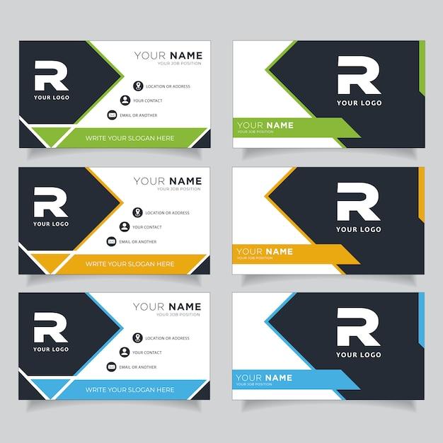 Tarjeta de visita creativa moderna verde, azul, naranja y negra oscura y tarjeta de presentación Vector Premium