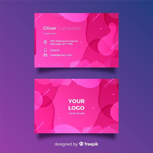 Tarjeta de visita degradado rosa abstracto con estilo memphis vector gratuito