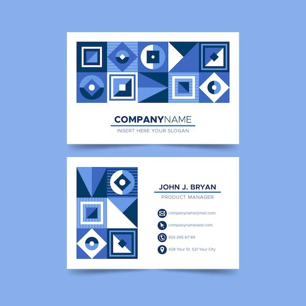 Tarjeta de visita de diseño azul de diamantes y cuadrados vector gratuito