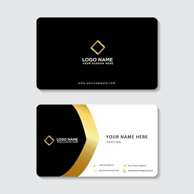 Tarjeta de visita elegante de oro simple Vector Premium