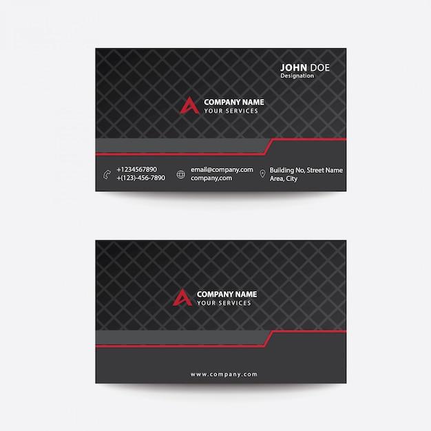 Tarjeta de visita para empresas corporativas clean flat premium minimal style black and red Vector Premium