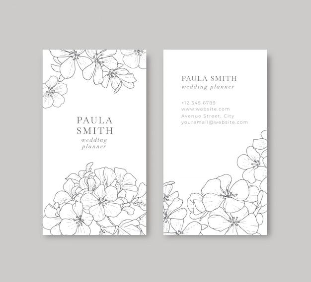 Tarjeta de visita floral blanco y negro vector gratuito