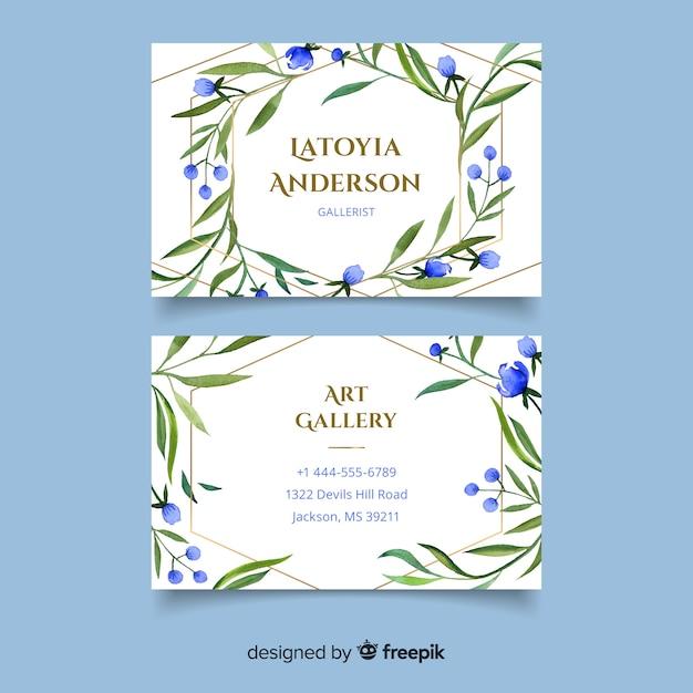 Tarjeta de visita floral con líneas doradas vector gratuito