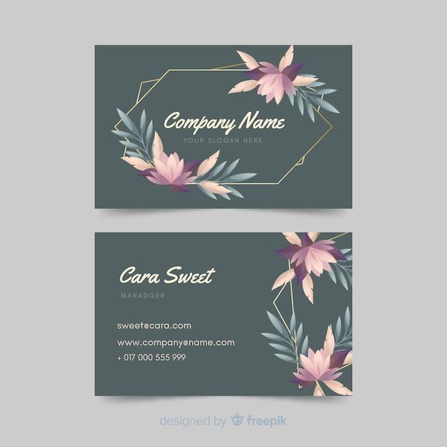 Tarjeta de visita floral plantilla con líneas doradas vector gratuito