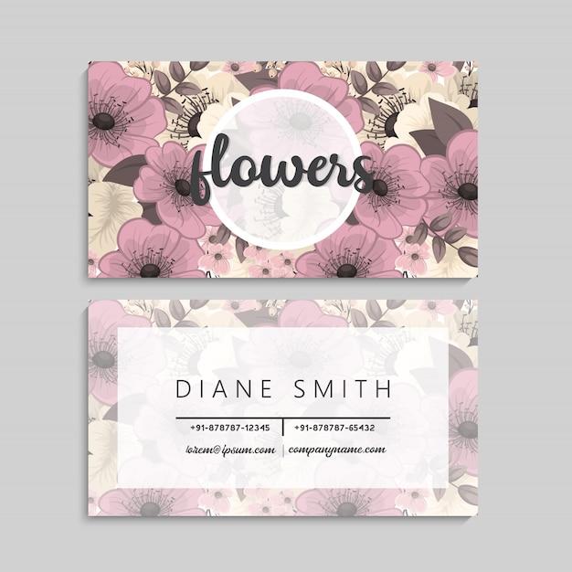 Tarjeta de visita floral vector gratuito