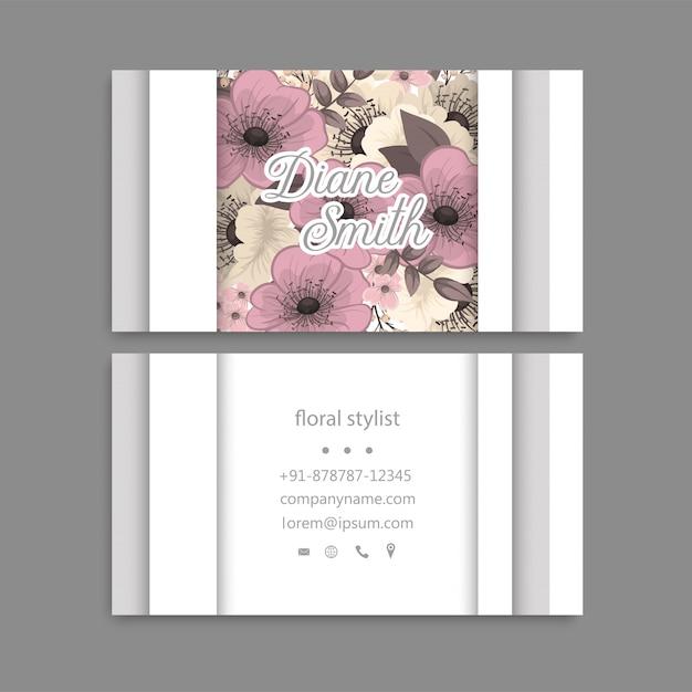 Tarjeta de visita con hermosas flores. modelo vector gratuito