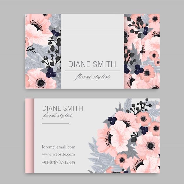 Tarjeta de visita con hermosas flores rosas vector gratuito
