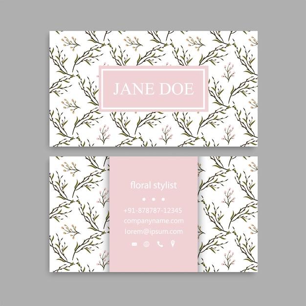Tarjeta de visita linda del estampado de flores plantilla de diseño de tarjeta vector gratuito