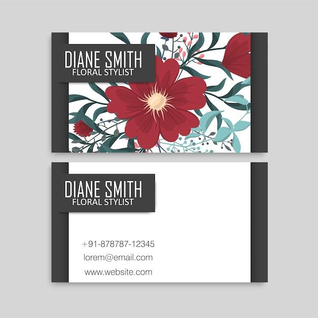 Tarjeta de visita linda del estampado de flores plantilla de diseño vector gratuito