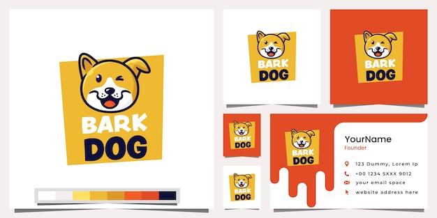 Tarjeta de visita del logotipo del perro de la corteza Vector Premium