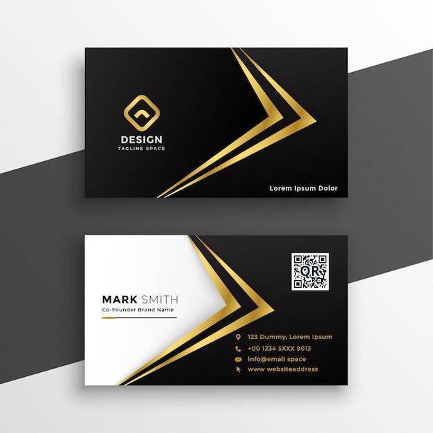 Tarjeta de visita de lujo premium negro y oro vector gratuito