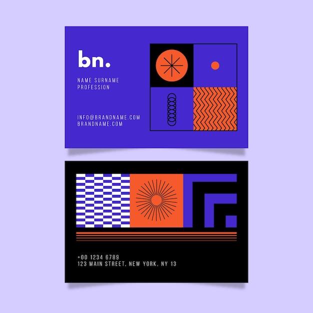 Tarjeta de visita moderna con formas abstractas vector gratuito