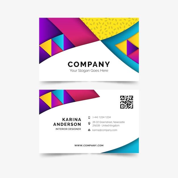 Tarjeta de visita de negocios plantilla colorido abstracto vector gratuito