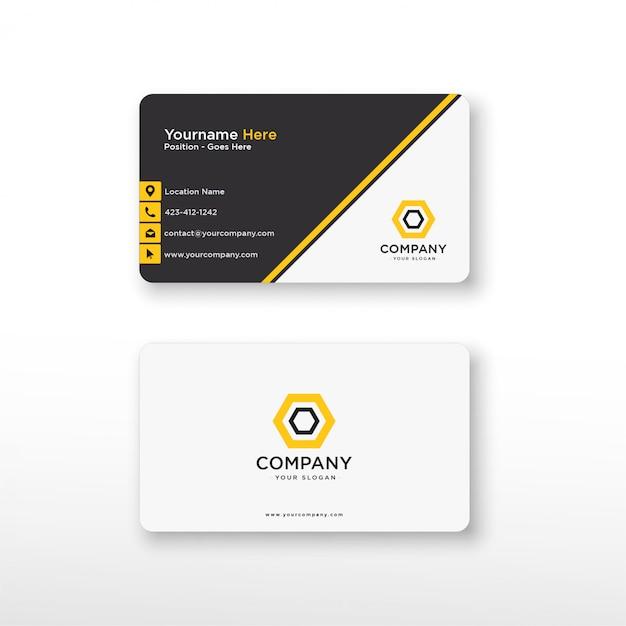 Tarjeta de visita negra amarilla geométrica Vector Premium