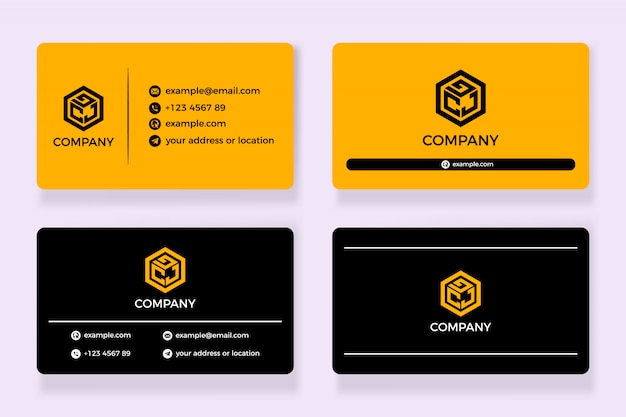 Tarjeta de visita negra y amarilla Vector Premium