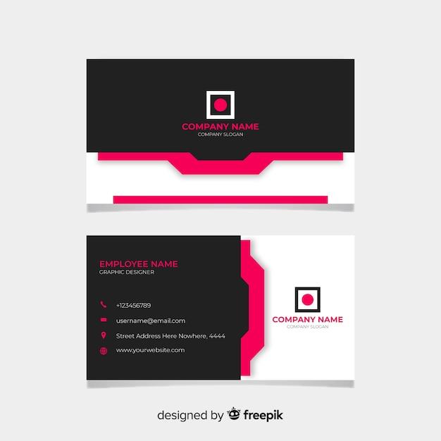 Tarjeta de visita negra y rosa vector gratuito
