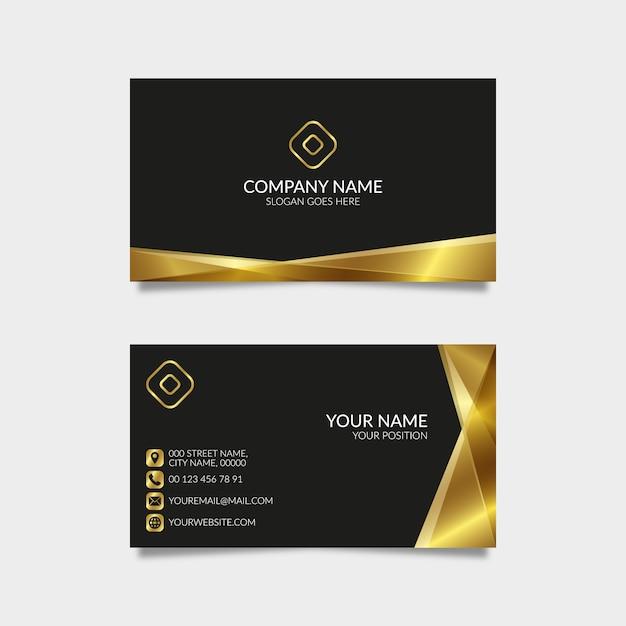 Tarjeta de visita de oro moderna con el fondo negro Vector Premium