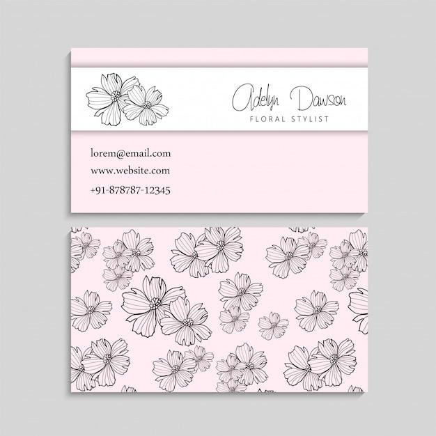 Tarjeta de visita con plantilla de flores hermosas vector gratuito