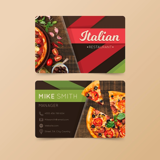 Tarjeta de visita para restaurante italiano vector gratuito