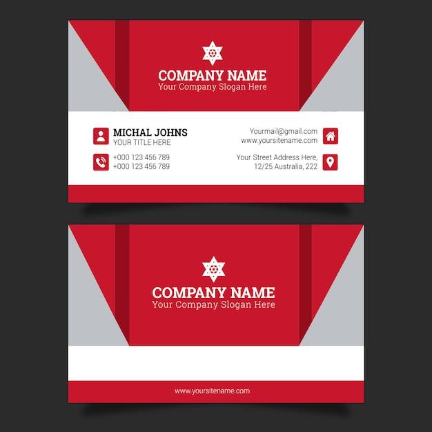 Tarjeta de visita en rojo Vector Premium