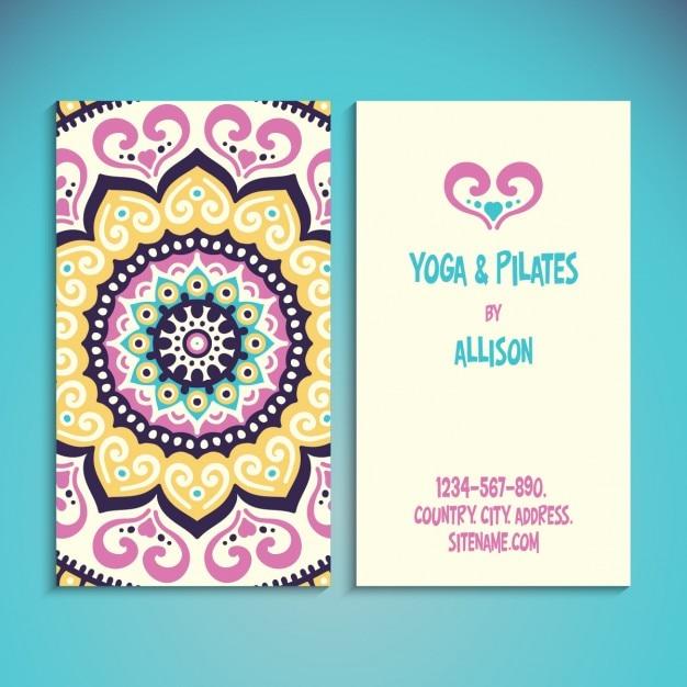 Tarjeta De Yoga Y Pilates Con Mandala Descargar Vectores Gratis