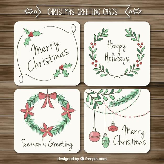 tarjetas de agradecimiento navideñas esbozadas descargar vectores