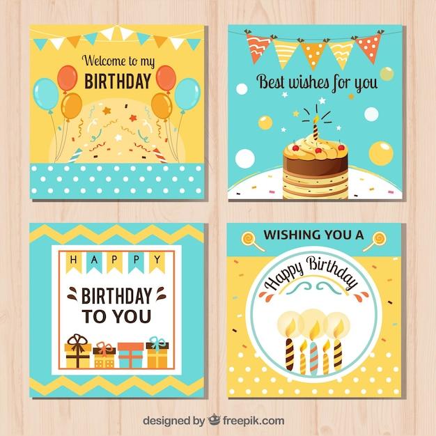 Tarjetas Bonitas De Feliz Cumpleaños Vector Gratis