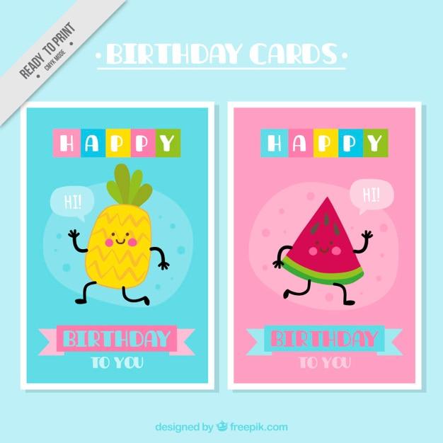 Tarjetas De Cumpleaños Con Frutas Simpáticas Vector Gratis