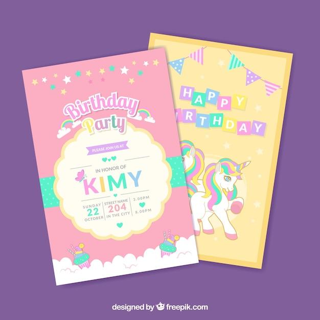 Tarjetas de cumpleaños con unicornios Descargar Vectores gratis