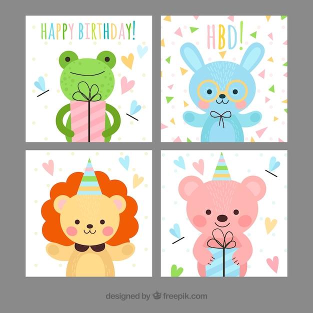 tarjetas de cumpleaos infantiles con animales felices vector gratis