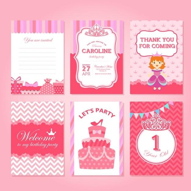 Tarjetas de cumpleaos rosas con princesas Descargar Vectores gratis