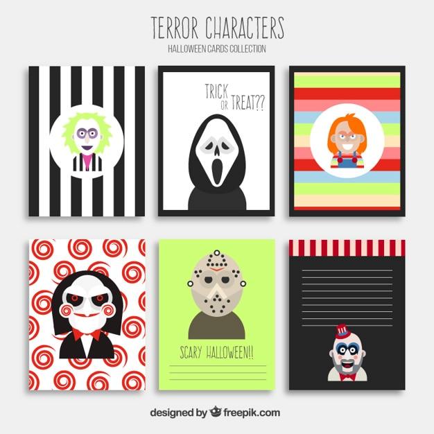 Tarjetas de Halloween con personajes de terror Vector Premium