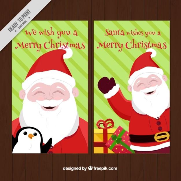 tarjetas de navidad bonitas con pap noel y fondo de rayas vector gratis