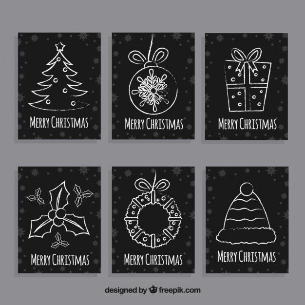 tarjetas de navidad negras dibujadas a mano vector gratis