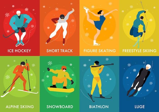 Tarjetas de deportes de invierno vector gratuito
