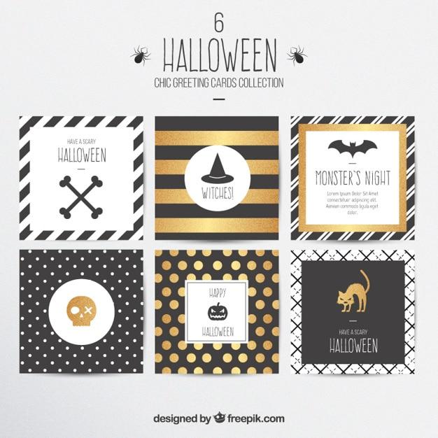 Tarjetas elegantes de felicitación de halloween vector gratuito