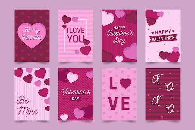 Tarjetas de felicitación del día de san valentín vector gratuito