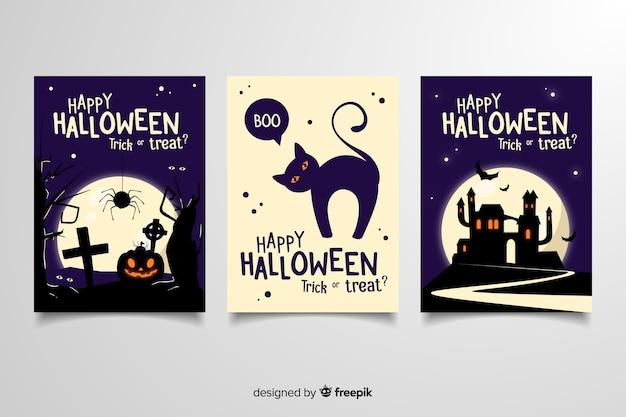 Tarjetas de felicitación de la fiesta de halloween con diferentes ilustraciones de miedo vector gratuito