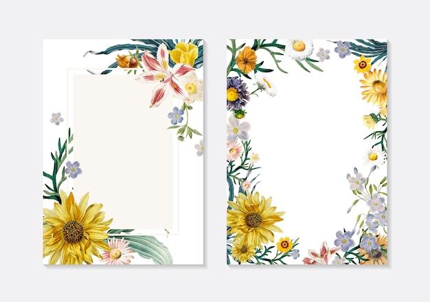 Tarjetas de felicitación florales vector gratuito