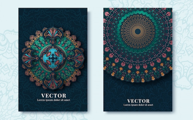 Tarjetas de felicitación vintage con remolinos y motivos florales en estilo retro Vector Premium
